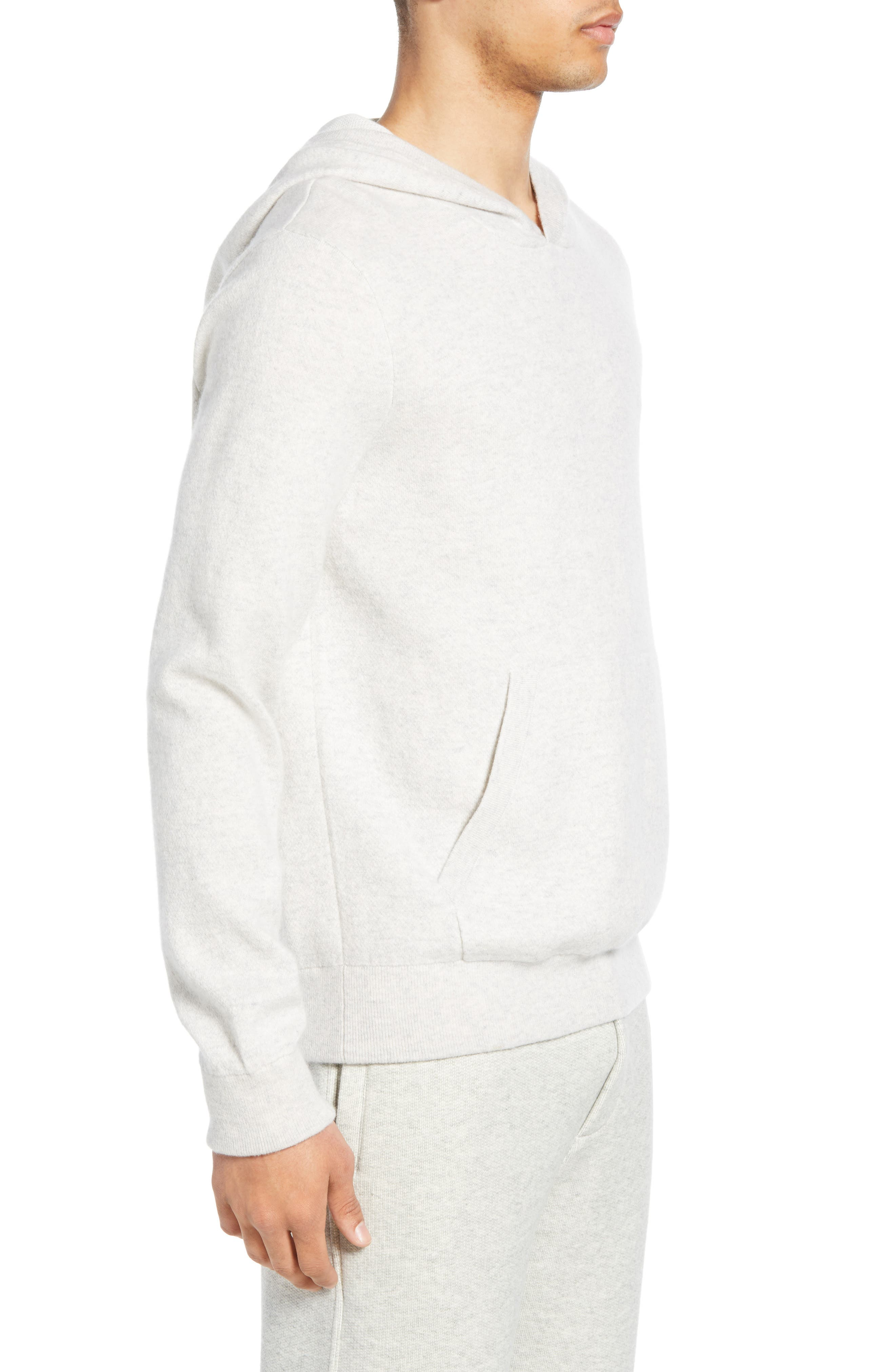 ,                             Wool & Cashmere Pullover Hoodie,                             Alternate thumbnail 3, color,                             H CLOUD/ OPTIC WHITE