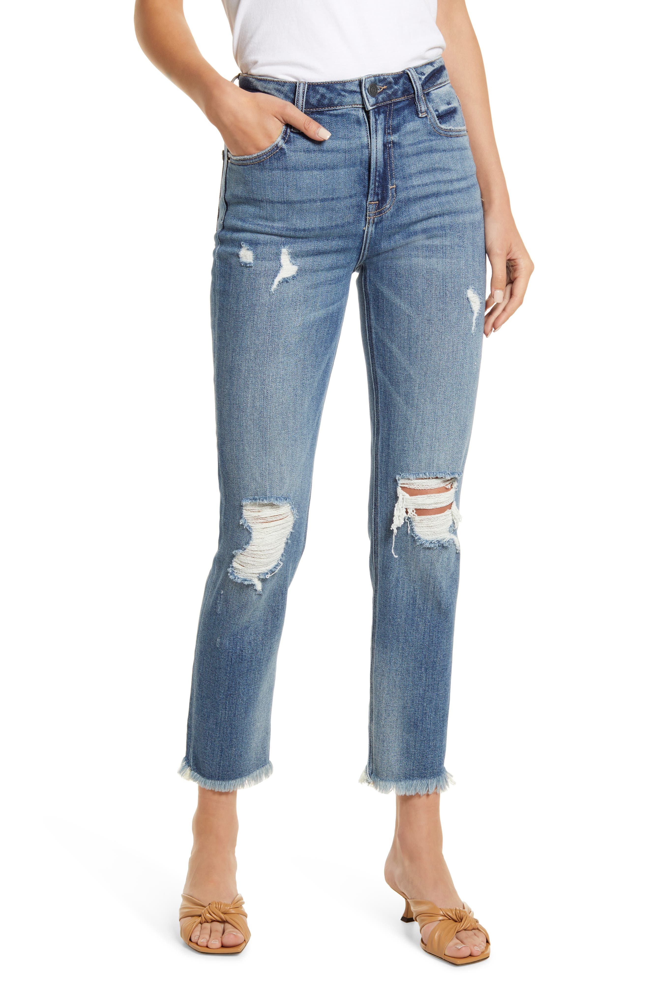 Distressed High Waist Fray Hem Ankle Skinny Jeans