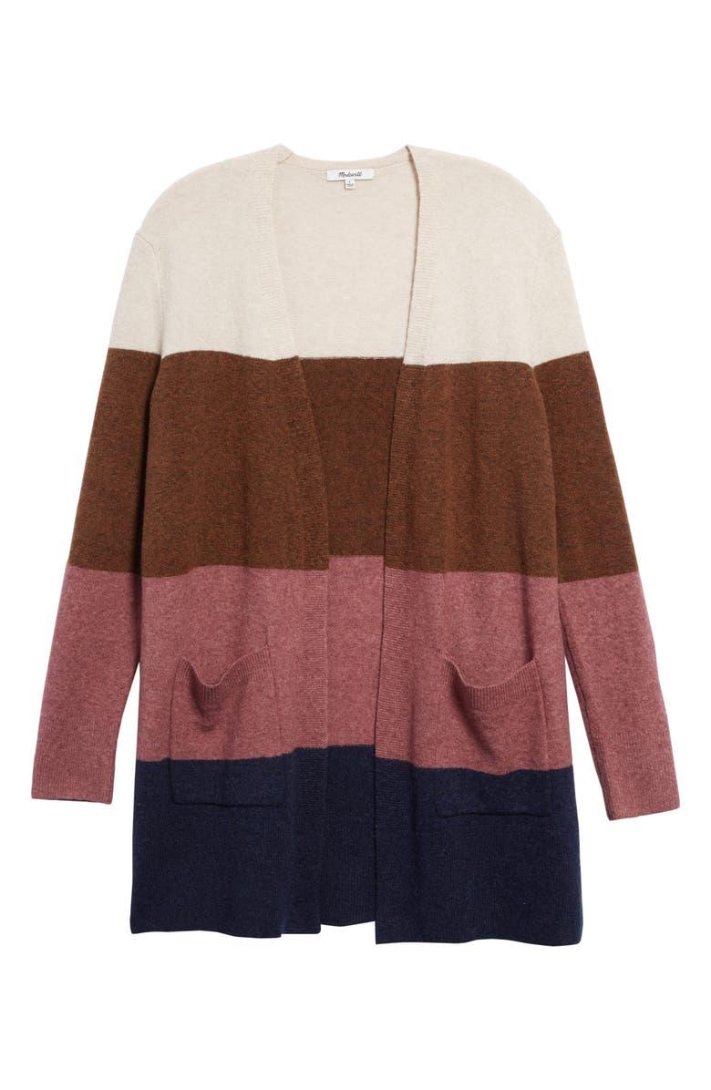 MADEWELL Kent Colorblock Long Cardigan, Main, color, HEATHER QUINOA