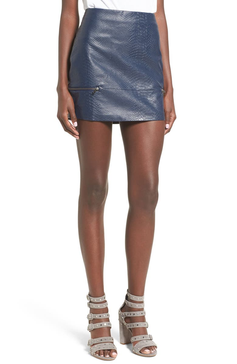 LOVERS + FRIENDS 'Good to Be Bad' Embossed Faux Leather Miniskirt, Main, color, 400