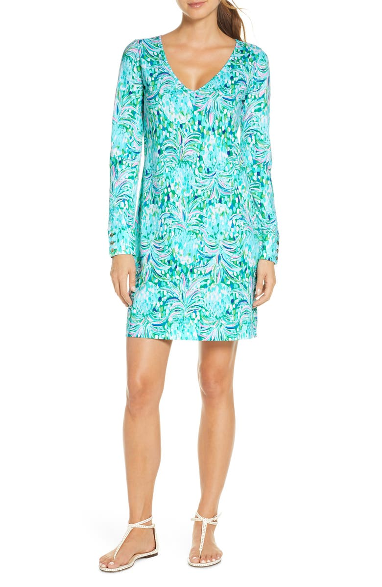 LILLY PULITZER<SUP>®</SUP> Davie Floral Long Sleeve Dress, Main, color, EMERALD ISLE PINEAPPLE