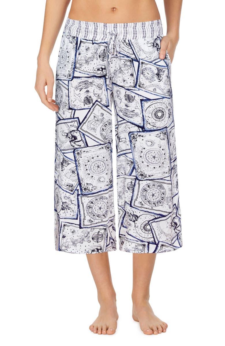 REFINERY29 Print Palazzo Pajama Pants, Main, color, CAMEO ASTROLOGICAL POSTCARDS