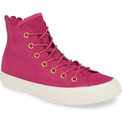 Converse Chuck Taylor All Star Scallop High Top Suede Sneaker- Pink