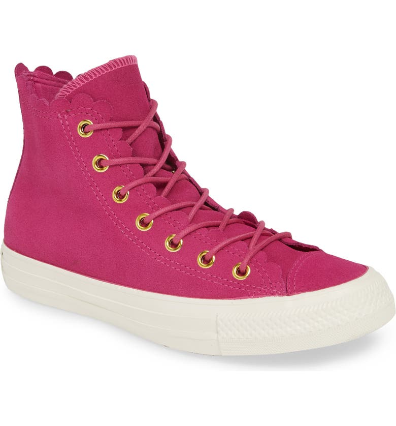 CONVERSE Chuck Taylor<sup>®</sup> All Star<sup>®</sup> Scallop High Top Suede Sneaker, Main, color, 650