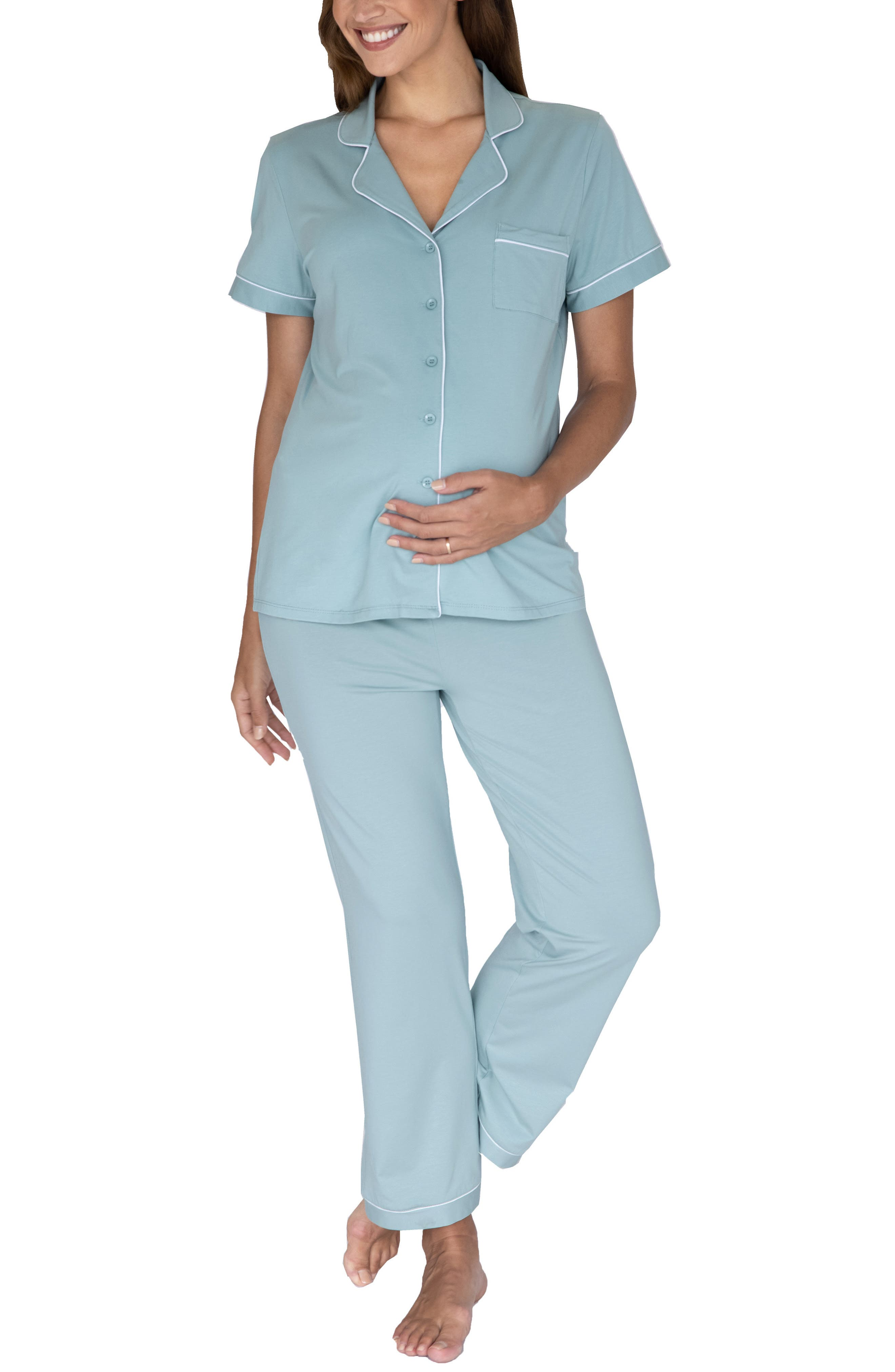 Button Front Maternity Pajamas