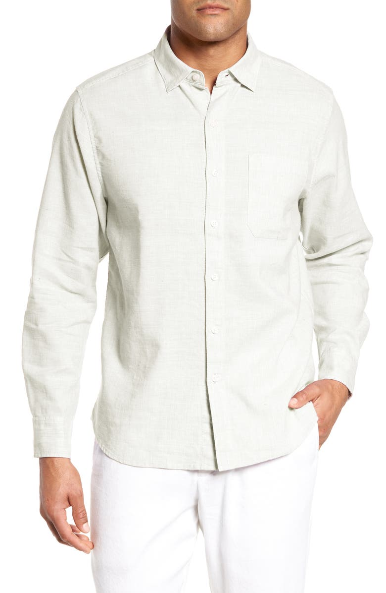 TOMMY BAHAMA Lanai Tides Classic Fit Linen Blend Shirt, Main, color, WHITE