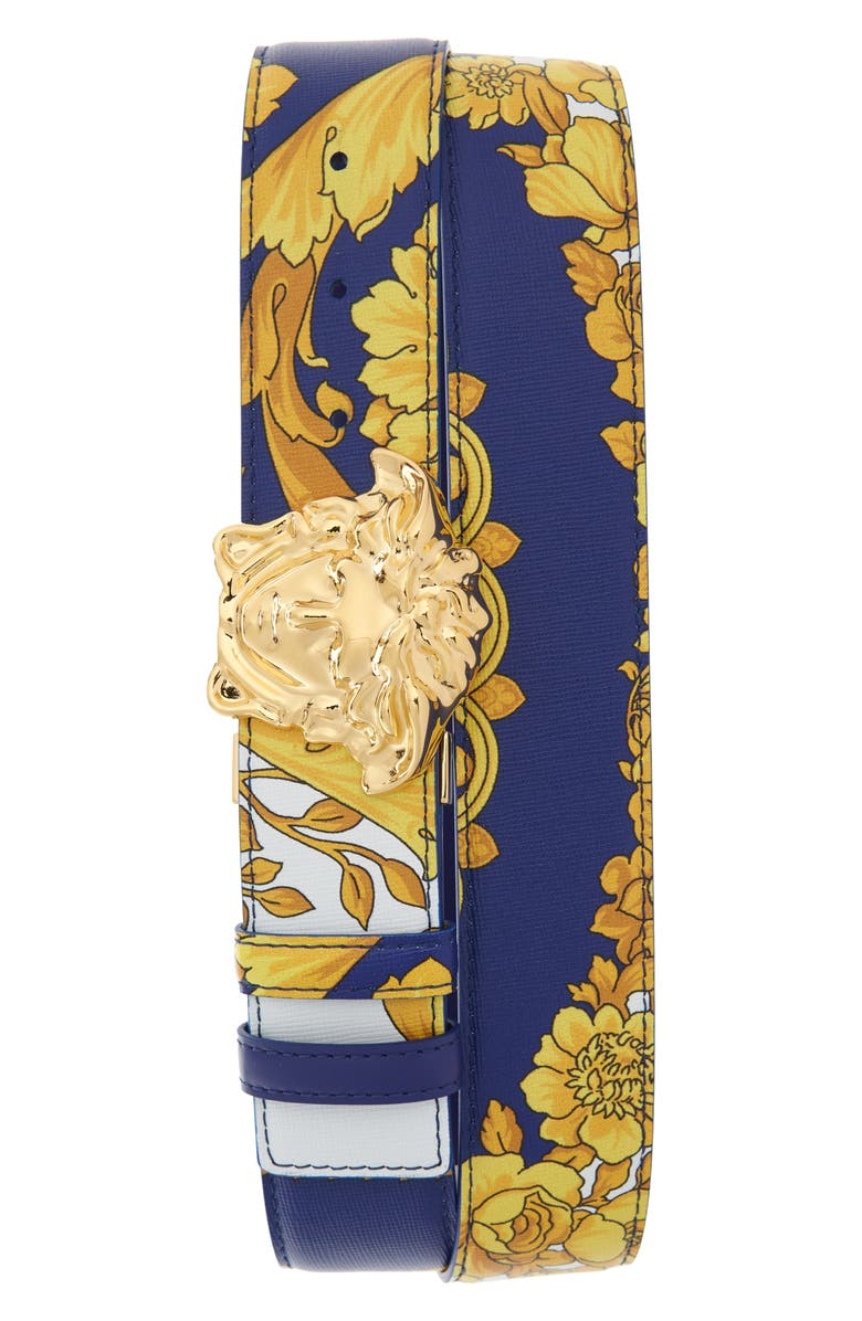 VERSACE Palazzo Medusa Reversible Leather Belt, Main, color, COBALT BLUE/MULTI/GOLD