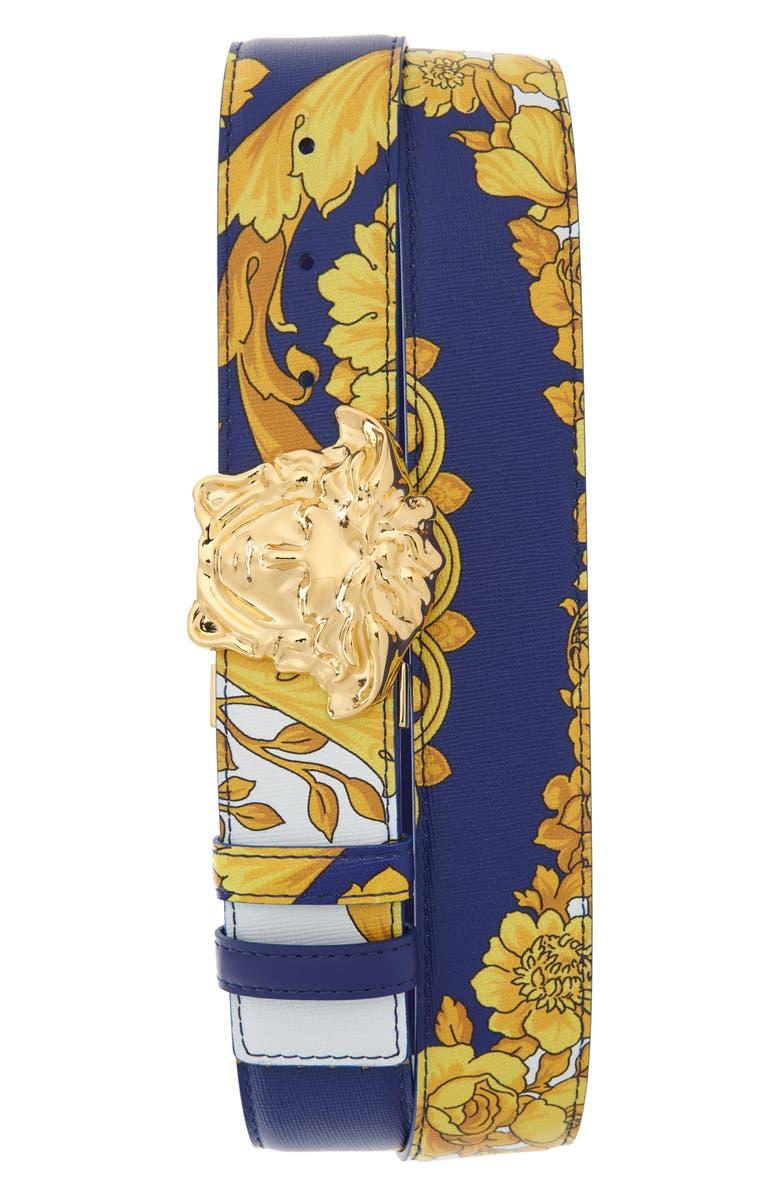 VERSACE Palazzo Medusa Reversible Leather Belt, Main, color, 466