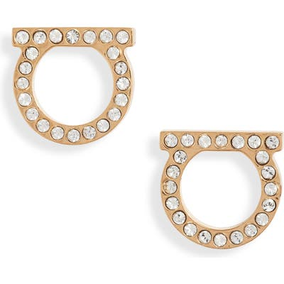 Salvatore Ferragamo Medium Pave Gancio Stud Earrings
