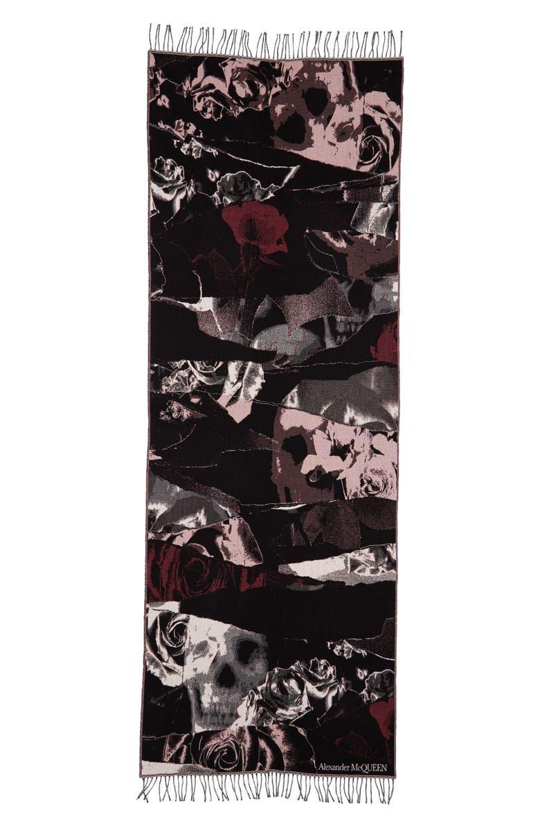 ALEXANDER MCQUEEN Torn Roses Jacquard Wool Scarf, Main, color, 1072 BLACK/ PINK