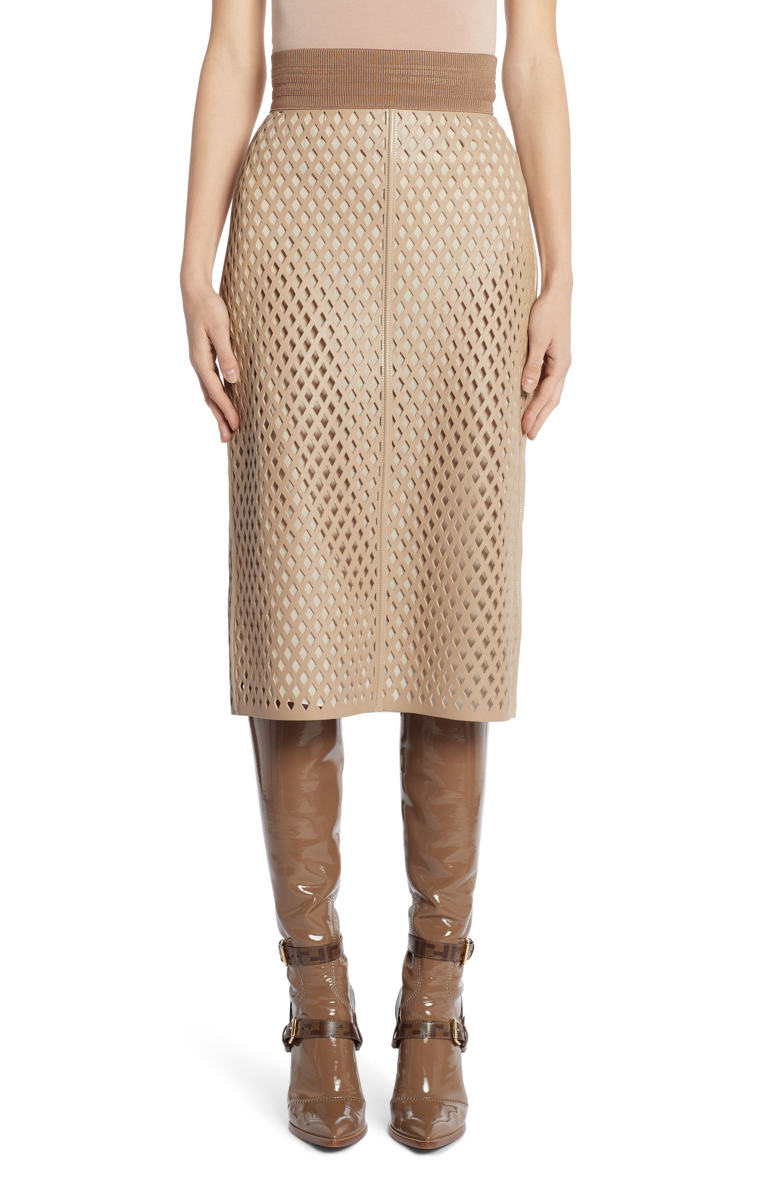 Fendi Skirts Leather Mesh Pencil Skirt