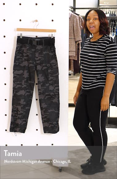 Belted Camo Ankle Straight Leg Pants, sales video thumbnail