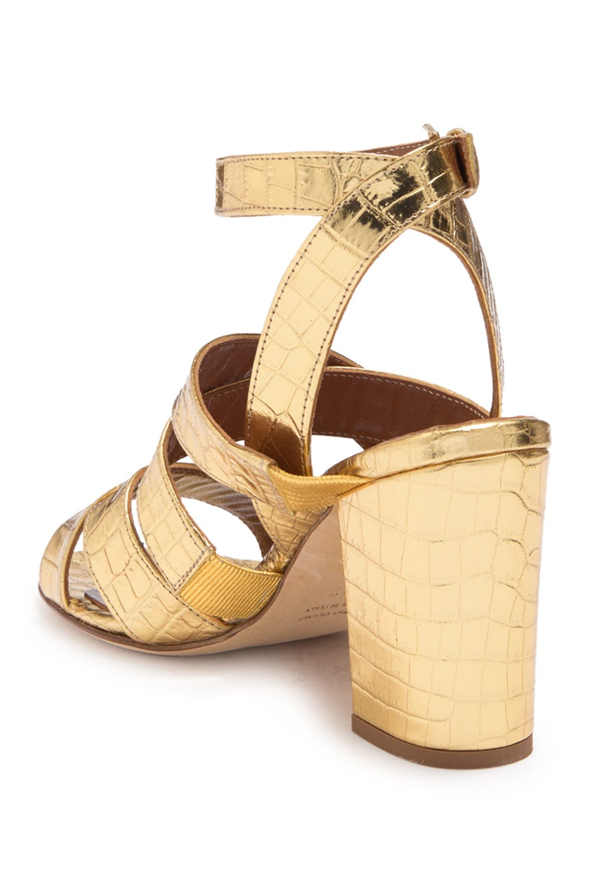 Image of PARIS TEXAS Metallic Croc Embossed Print Strappy Block Heel Sandal