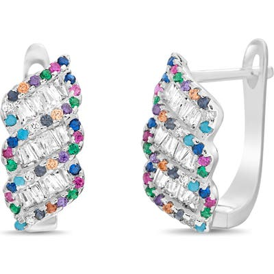 Lesa Michele Multicolor Pave Huggie Earrings