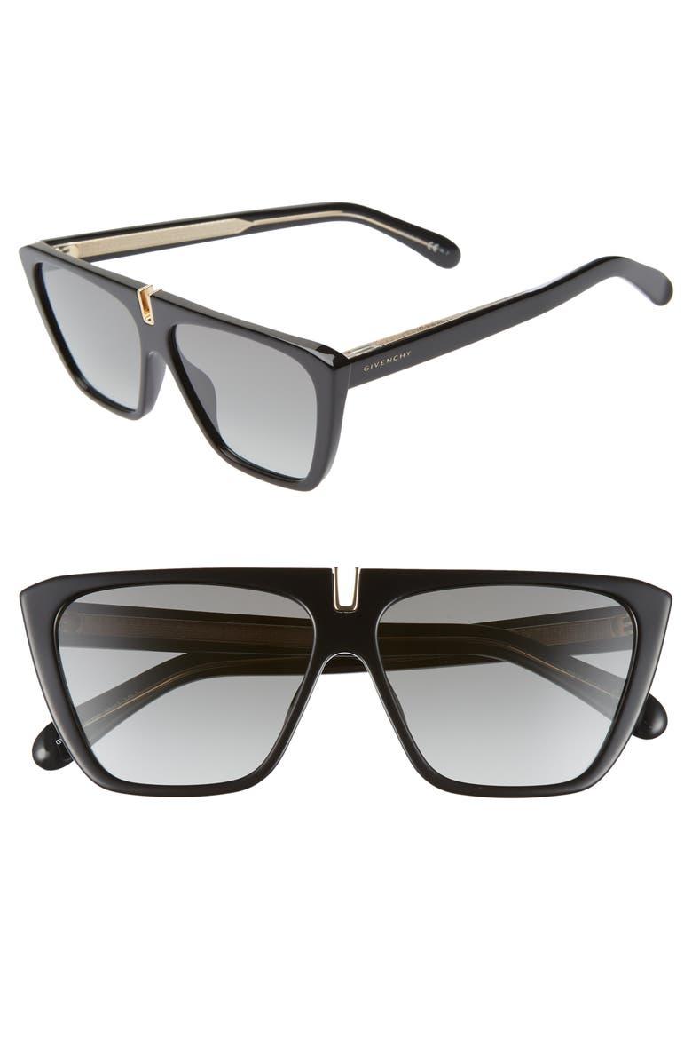 6e5196e253 58mm Flat Top Sunglasses, Main, color, BLACK/ GOLD