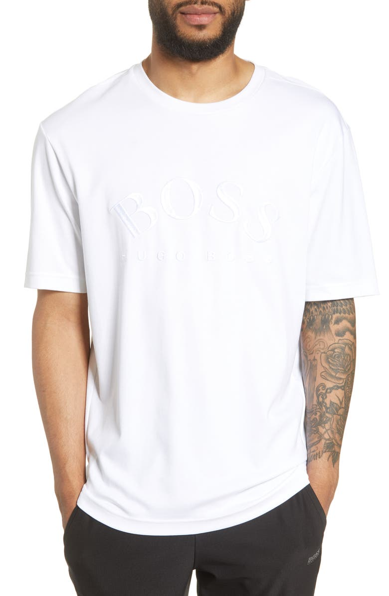 BOSS Talboa Logo Embroidered T-Shirt, Main, color, 100
