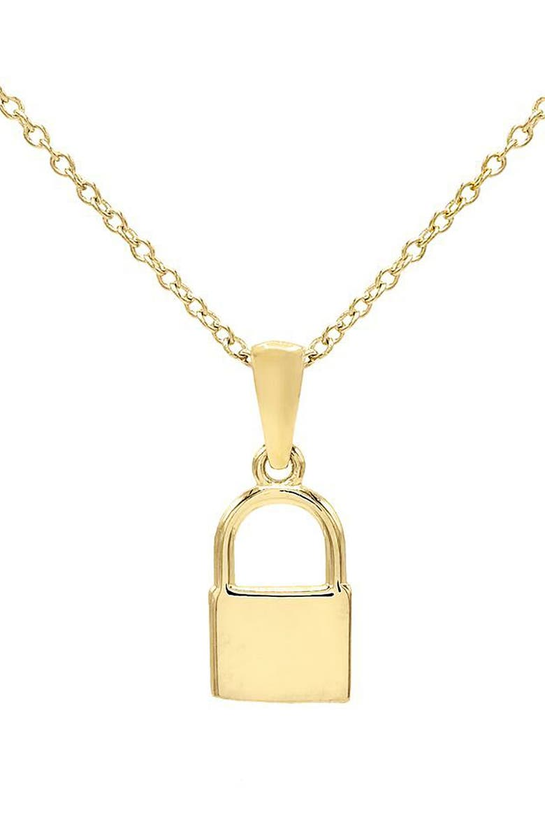 ADINA'S JEWELS Mini Lock Pendant Necklace, Main, color, GOLD