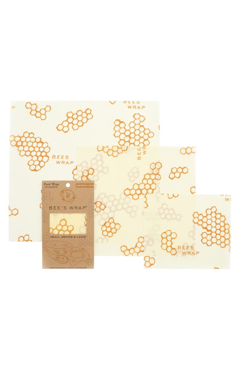 BEE'S WRAP Assorted 3-Pack Reusable Food Wraps, Main, color, HONEYCOMB