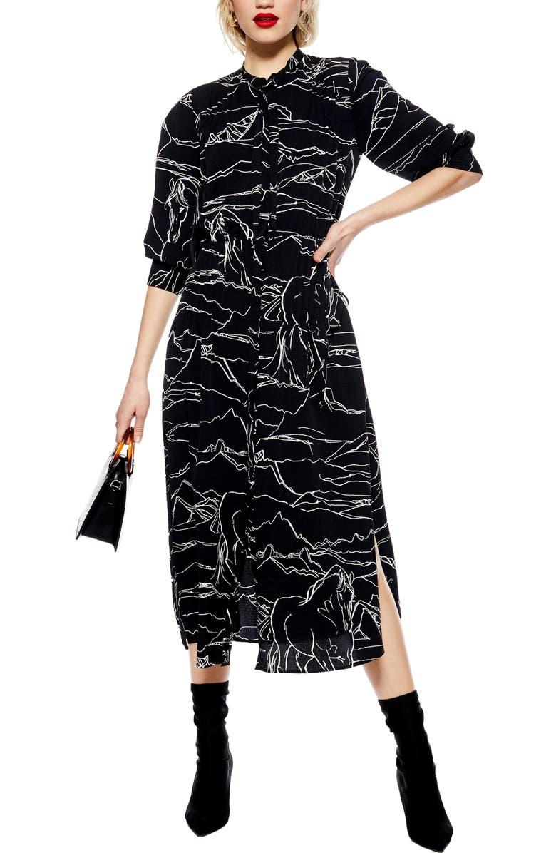 TOPSHOP Horse Print Midi Dress, Main, color, 001