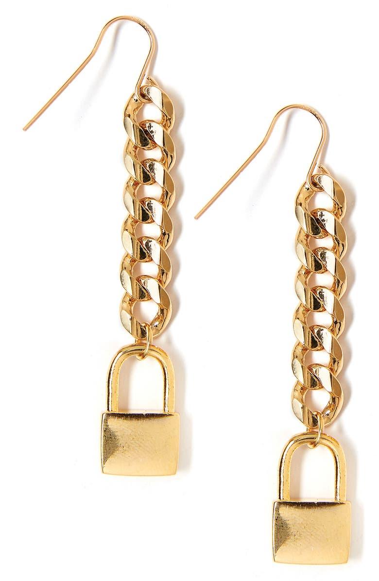 TESS + TRICIA Lock Drop Earrings, Main, color, GOLD