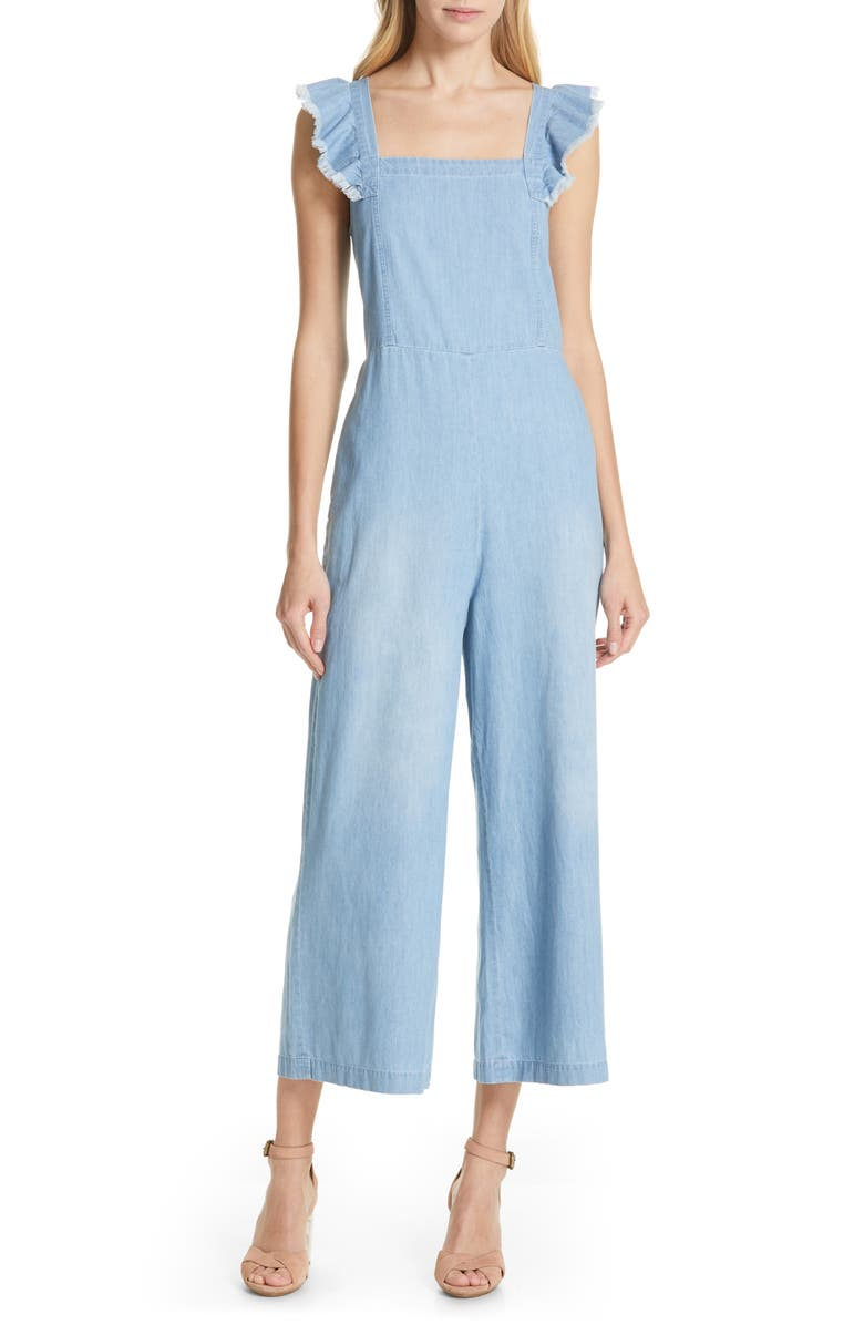 DOLAN Minnie Flutter Sleeve Chambray Jumpsuit, Main, color, 421