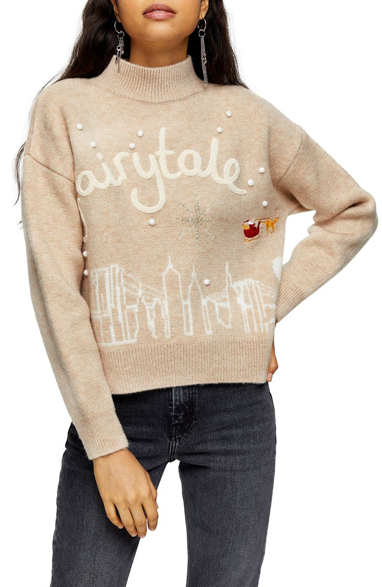 TOPSHOP Fairytale High Neck Sweater, Main, color, 251
