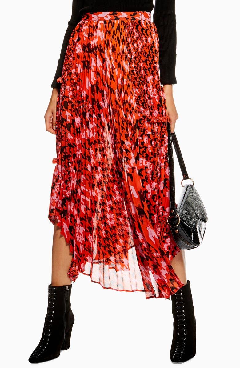 TOPSHOP Dogtooth Pleat Midi Skirt, Main, color, 600