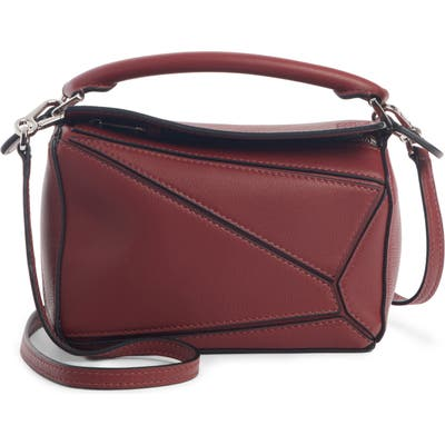 Loewe Puzzle Mini Calfskin Leather Bag - Burgundy