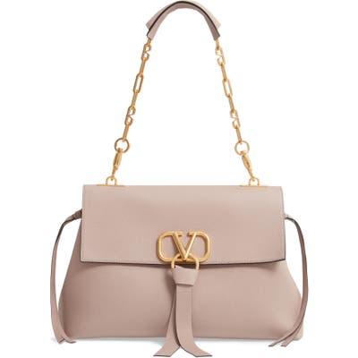 Valentino Garavani Medium Vee Ring Leather Shoulder Bag - Pink