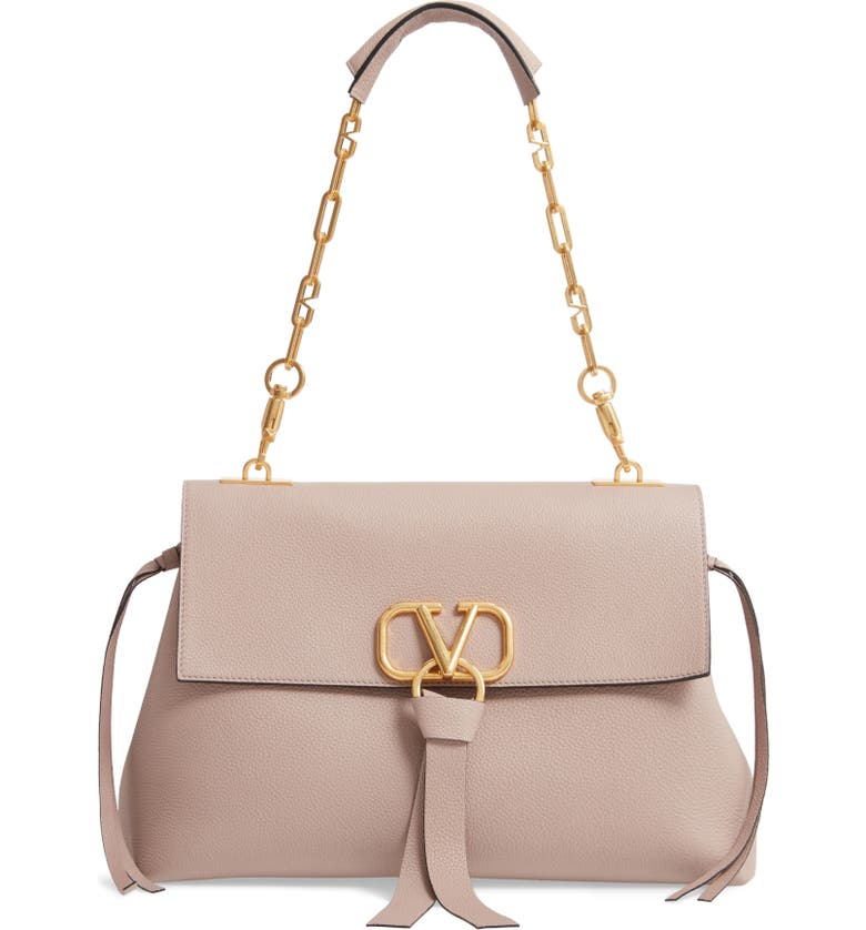 VALENTINO GARAVANI Medium Vee Ring Leather Shoulder Bag, Main, color, POUDRE