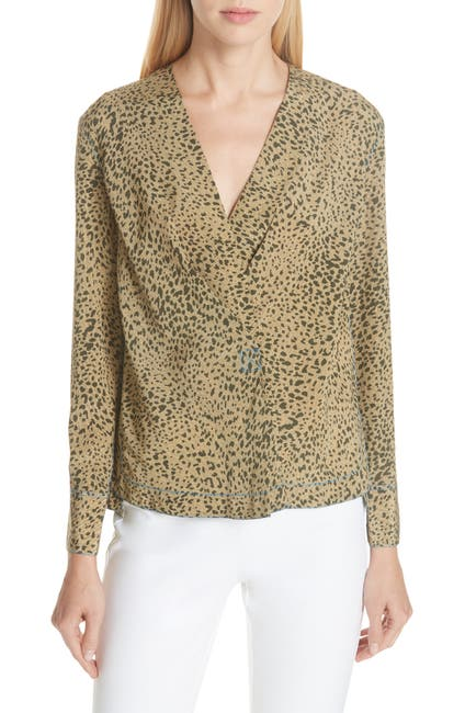 Image of Rag & Bone Shields Leopard Print Silk Top