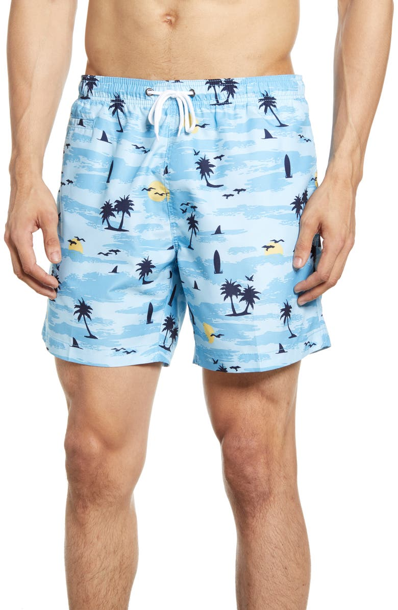 TRUNKS SURF & SWIM CO. Paradise Island Print Swim Trunks, Main, color, PLACID BLUE