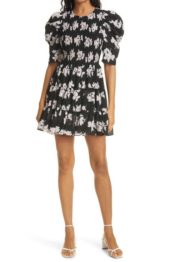 CINQ À SEPT Dresses HOLLIS FLORAL PUFF SLEEVE TIERED RUFFLE DRESS