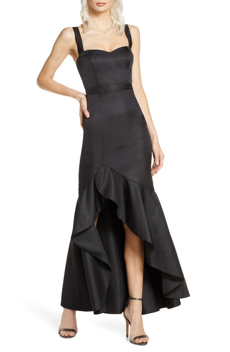 FAME AND PARTNERS The Florence Ruffle High/Low Gown, Main, color, BLACK