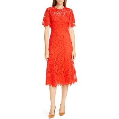 Lela Rose Flutter Sleeve Lace Midi Dress, Red