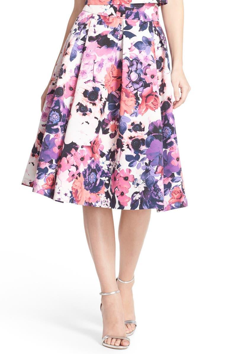 ELIZA J Floral Print Faille Midi Skirt, Main, color, 510