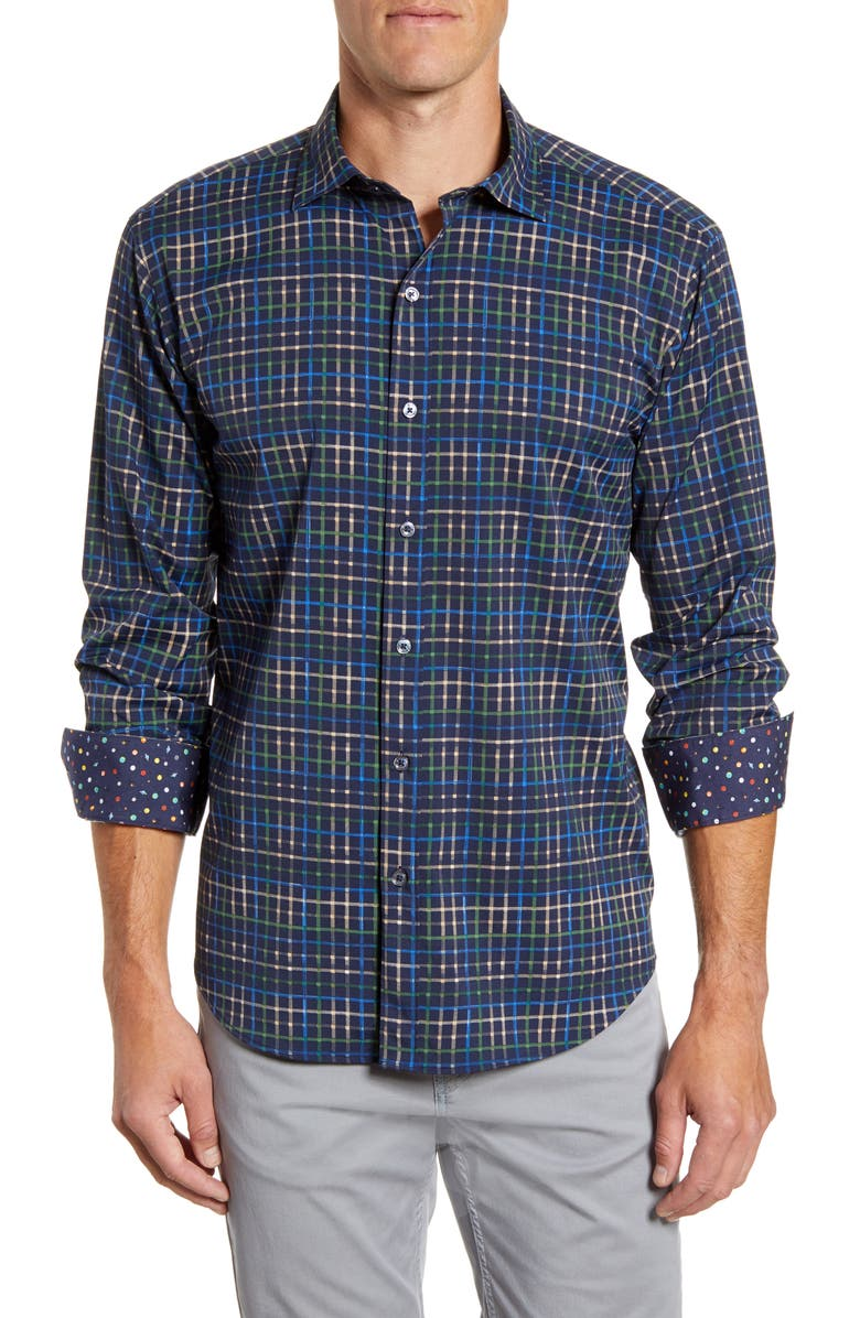 BUGATCHI Shaped Fit Plaid Button-Up Performance Shirt, Main, color, MIDNIGHT