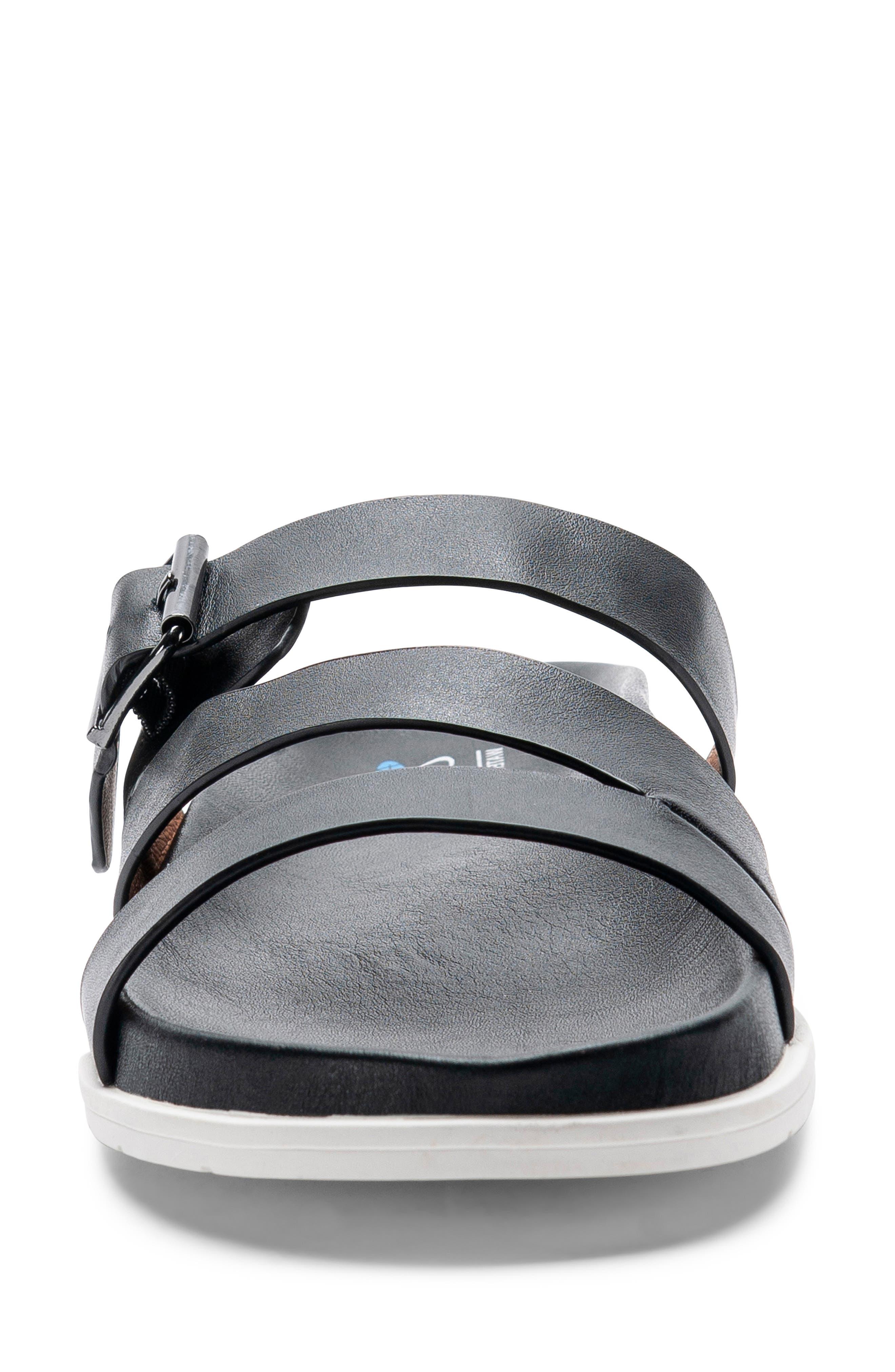 ,                             Selma Waterproof Slide Sandal,                             Alternate thumbnail 4, color,                             BLACK LEATHER