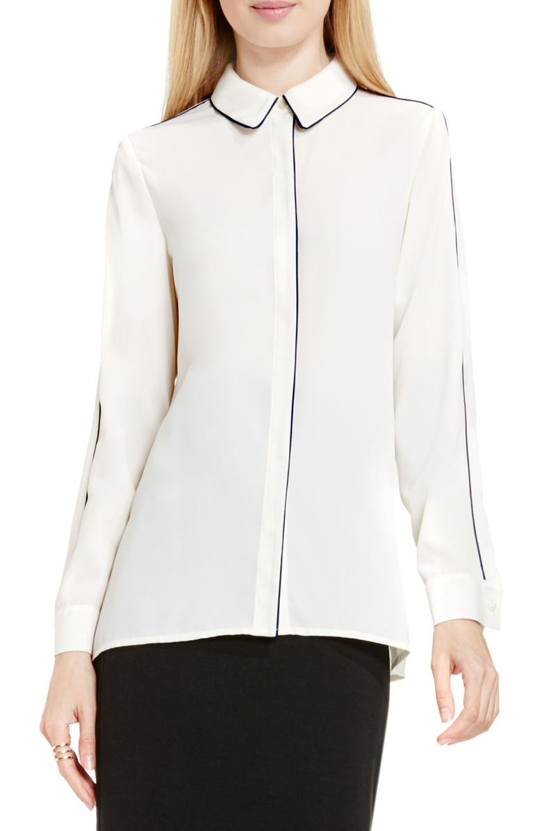 VINCE CAMUTO Piped Trim Blouse, Main, color, 108