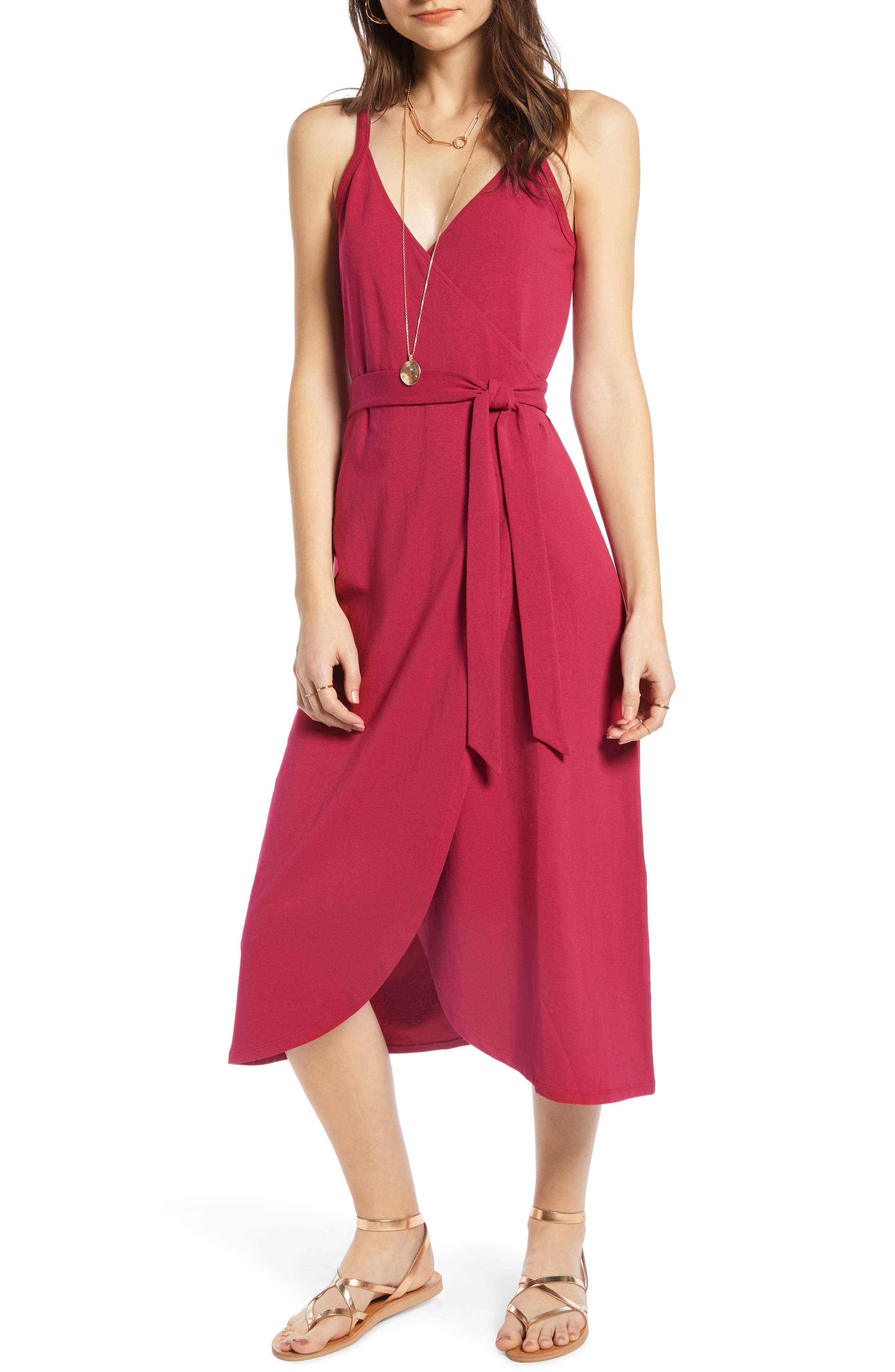 Knit Wrap Midi Sundress, Main, color, BURGUNDY BERRY