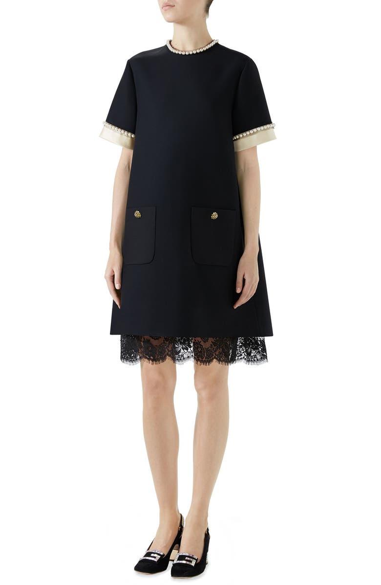 GUCCI Imitation Pearl Trim Crepe Cady Dress, Main, color, 012