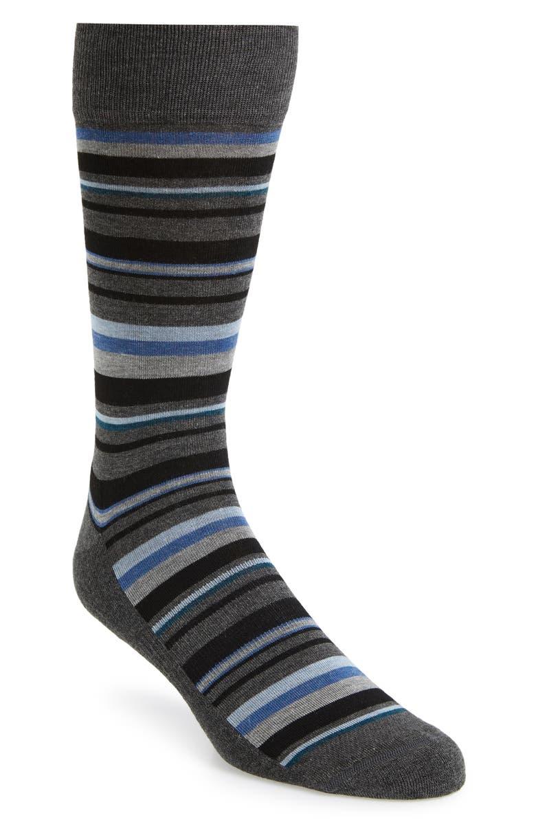 NORDSTROM MEN'S SHOP Stripe Socks, Main, color, CHARCOAL/ BLUE