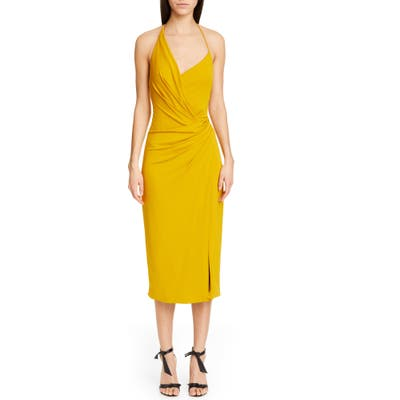 Cushnie Asymmetrical Halter Midi Dress, Yellow