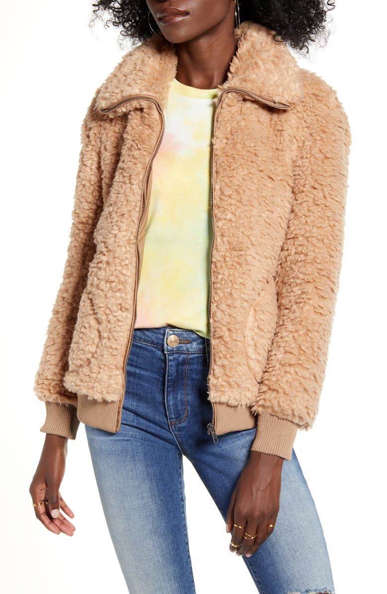 BB DAKOTA Teddy Or Not Faux Fur Bomber Jacket, Main, color, CAMEL