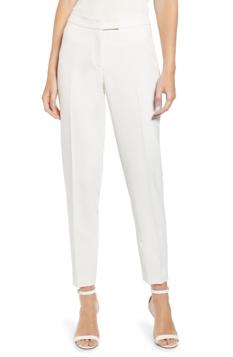 ANNE KLEIN Slim Stretch Woven Pants, Main, color, ANNE WHITE