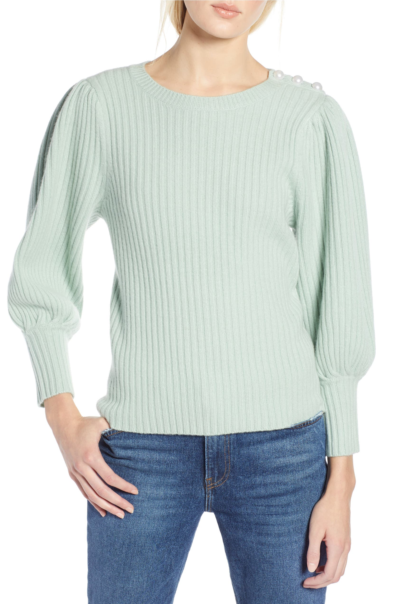 0b4e5c9244e Halogen® x Atlantic-Pacific Balloon Sleeve Wool & Cashmere Sweater |  Nordstrom