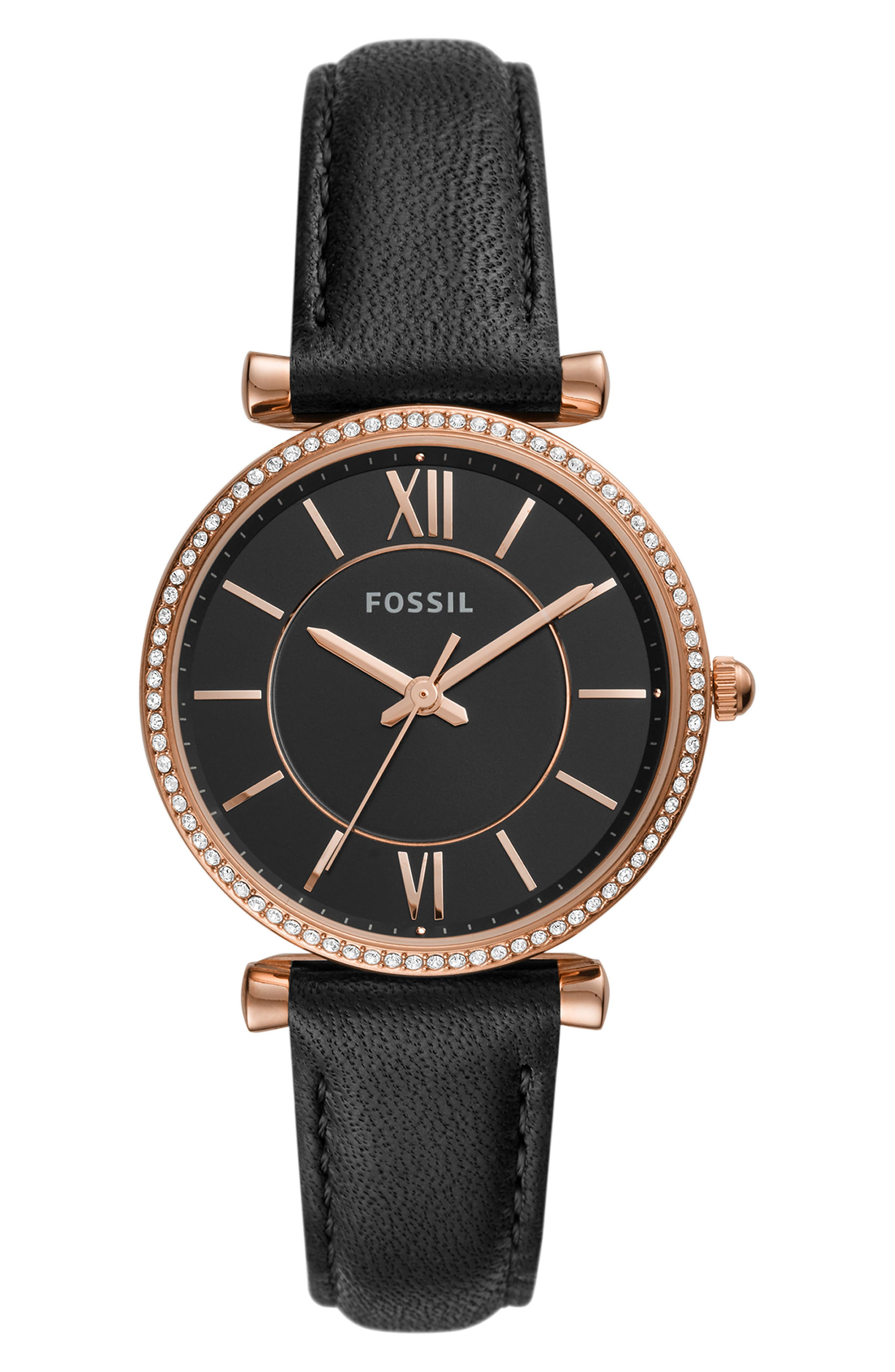 ,                             Carlie Leather Strap Watch, 35mm,                             Main thumbnail 1, color,                             BLACK/ ROSE GOLD
