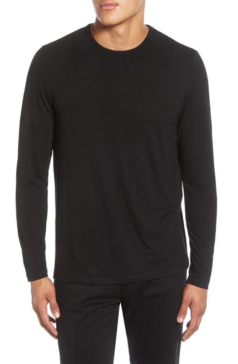 CALIBRATE Slub Long Sleeve T-Shirt, Main, color, BLACK