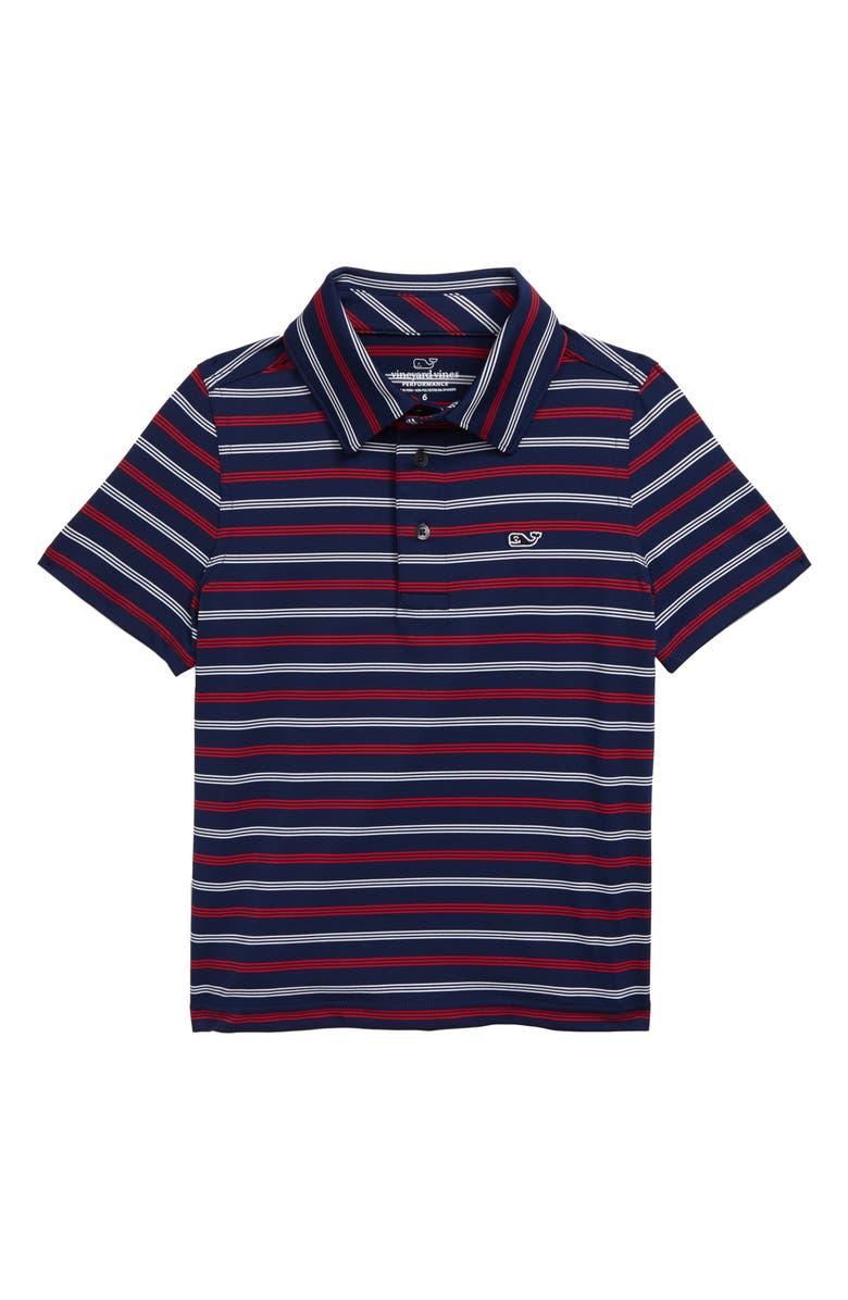 VINEYARD VINES Camden Sankaty Stripe Performance Polo, Main, color, BLUE DEPTH