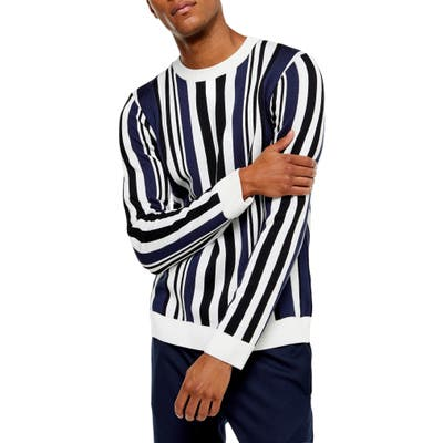 Topman Vertical Stripe Crewneck Sweater, Blue